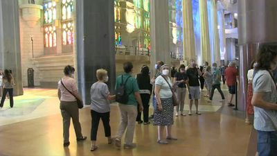 Barcelona church reopens doors firstly for healthcare workers