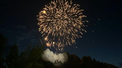US Independence Day fireworks explode over Mount Rushmore National Memorial
