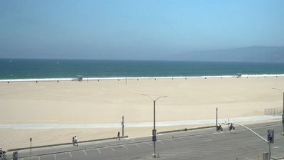Closed beach and empty streets in Santa Monica on July 4th