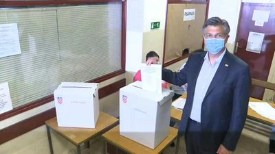 Croatian PM Andrej Plenkovic votes in parliamentary election