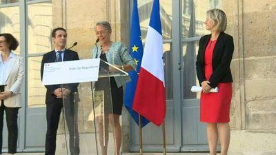 French environment minister Elisabeth Borne hands over to Barbaba Pompili