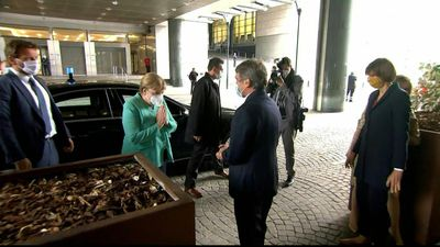 Merkel arrives at European Parliament in Brussels