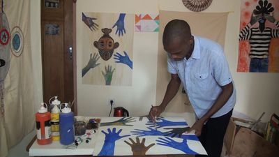 Cameroon painter uses brush against COVID-19