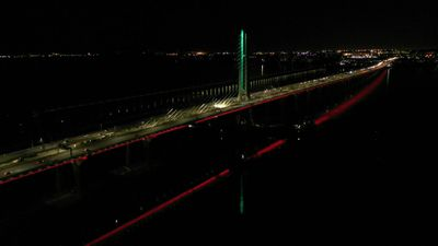 Montreal's Samuel-De Champlain Bridge lights up with Lebanese flag colours