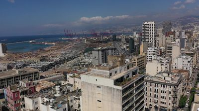 Aerial images of blown-out buildings in the Beirut port area