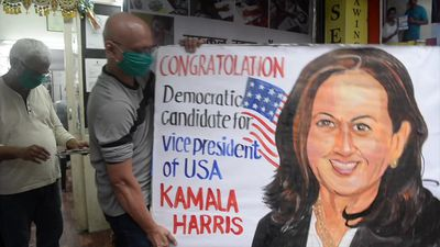 Indian artist paints congratulatory message for Kamala Harris