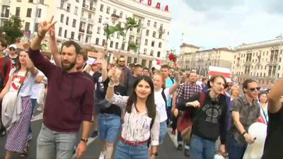 Belarusians rally against police violence in Minsk