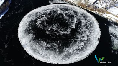 Giant rotating ice disk forms in Maine river