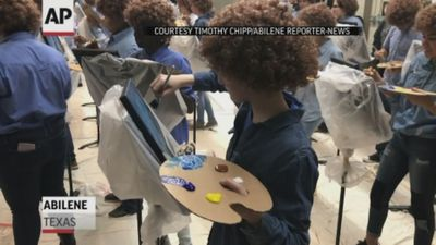 Texas students don wigs in tribute to Bob Ross