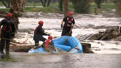 Numerous flood rescues east of Los Angeles