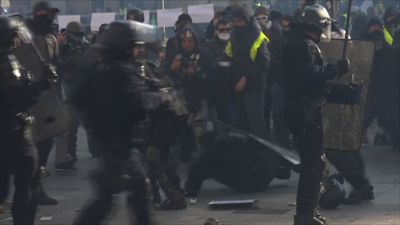 French protesters attack police in Paris