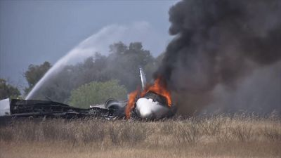 10 aboard unhurt after Northern Calif. jet fire