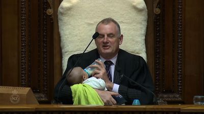 New Zealand Speaker feeds baby during debate