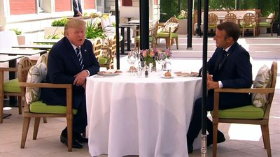 Trump, Macron speak in meeting ahead of G7