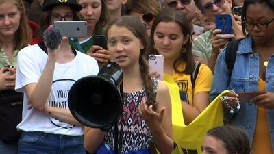 Greta Thunberg joins climate protest in Washington