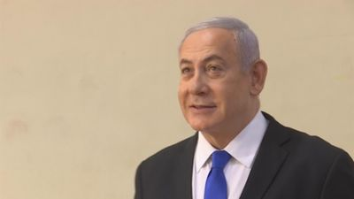 Israeli exit polls suggest setback for Netanyahu