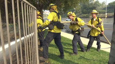 Firefighters battle to save Los Angeles-area homes