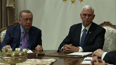 Pence meets with Erdogan, seeking Syria cease-fire