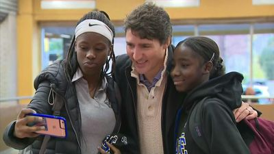 PM Trudeau greets supporters at metro station