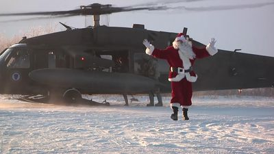 Santa gets chopper ride to remote Alaska village