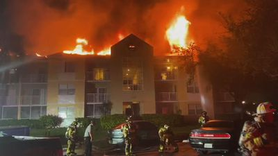Dozens evacuated in blaze at Florida condo complex