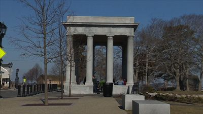 Iconic Plymouth Rock vandalized with graffiti