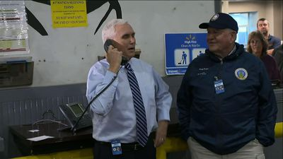 Pence tours Va. Walmart warehouse, thanks workers