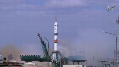Soyuz mission blasts off for space station
