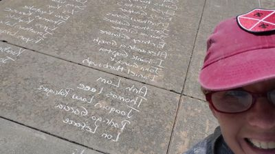 Sidewalk celebration for Oklahoma graduates