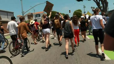 Protesters march through streets of Santa Monica