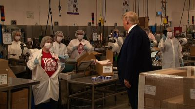 Trump tours Maine medical swab manufacturing plant