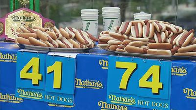 Champions weigh-in for New York's hot dog contest