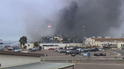 Fire burns on Navy ship in San Diego, dozens hurt