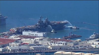 Battle to save burning US Navy warship ongoing