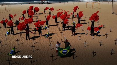 Protest at Copacabana Beach highlights pandemic