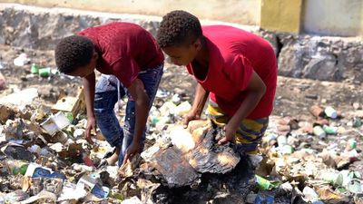 Where children search through rubbish for food