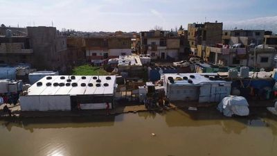 Refugee homes under water
