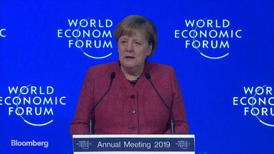 Germany's Merkel Speaks on Multilateralism, Financial Risks in Davos