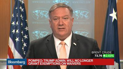 U.S. Will No Longer Grant Any Iran Oil Waiver Exemptions: Pompeo