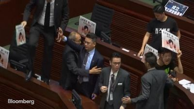 Lawmakers Interrupt Lam Policy Speech in Hong Kong Legislature