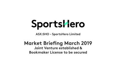 Joint Venture established and Sports Bookmaker Licence to be secured to enable the Australian launch