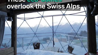 These eco-domes overlook the Swiss Alps