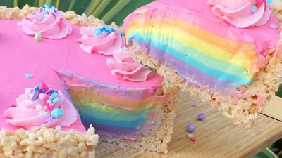Watch how to make an easy, no-bake rainbow cheesecake