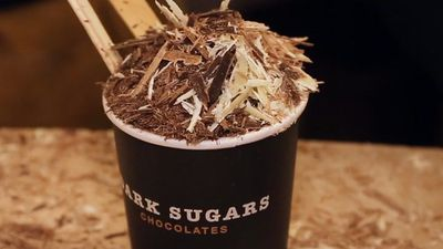 The best hot chocolate in London is topped with more chocolate