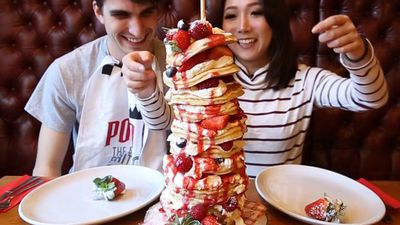 We tried to finish a tower of 12 pancakes