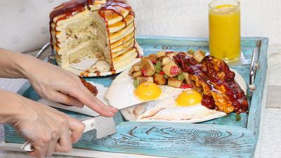 This whole breakfast platter is actually cake
