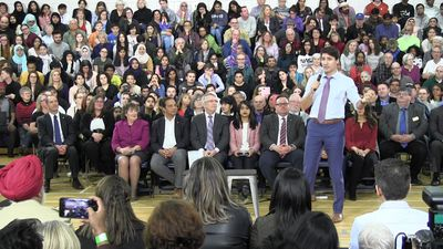 Prime Minister Justin Trudeau defends the federal carbon price at town hall in Cambridge, Ont.