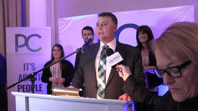 P.E.I. PC Leader King's victory speech; Green's Bevan-Baker celebrates record number of seats