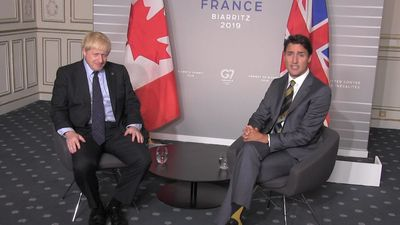 Prime Minister Justin Trudeau meets with British Prime Minister Boris Johnson on the margins of the