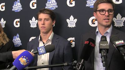 Toronto Maple Leafs' Mitch Marner and Leafs general manager Kyle Dubas discuss Marner's six-year con